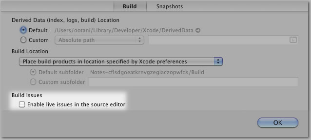 [写真] Xcode 4 : File → Project Settings → Build