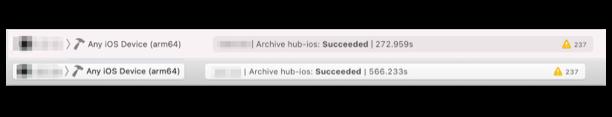 [イメージ] ビルド時間比較 Mac mini 273 秒 / MacBook Pro 566 秒